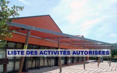 Liste des activités autorisées