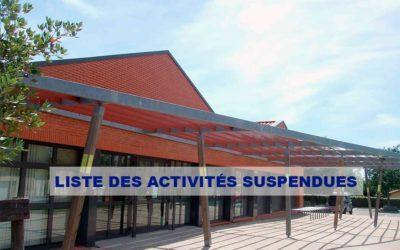 Liste des activités suspendues